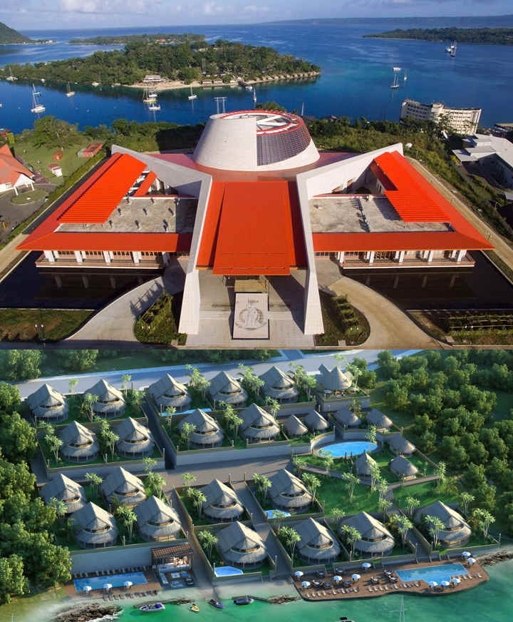 Top: Island resort sold July 2016 for $32M. Centre: Conference Centre Completed 2016 for $17M. Bottom: Scuba Resort project underway